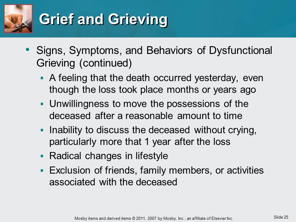 Slide 25 Mosby items and derived items © 2011, 2007 by Mosby, Inc., an affiliate of Elsevier Inc. Grief and Grieving Signs, Symptoms, and Behaviors of