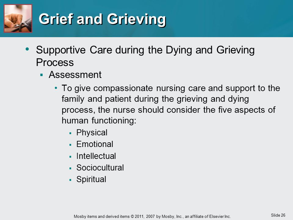 Slide 26 Mosby items and derived items © 2011, 2007 by Mosby, Inc., an affiliate of Elsevier Inc. Grief and Grieving Supportive Care during the Dying