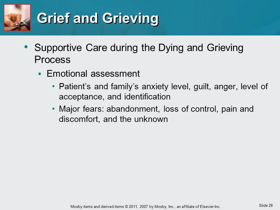Slide 28 Mosby items and derived items © 2011, 2007 by Mosby, Inc., an affiliate of Elsevier Inc. Grief and Grieving Supportive Care during the Dying