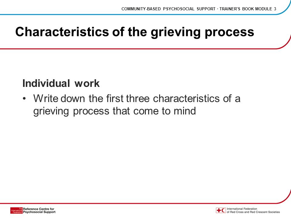 COMMUNITY-BASED PSYCHOSOCIAL SUPPORT · TRAINER S BOOK MODULE 3 Characteristics of the grieving process Individual work Write down the first three characteristics of a grieving process that come to mind