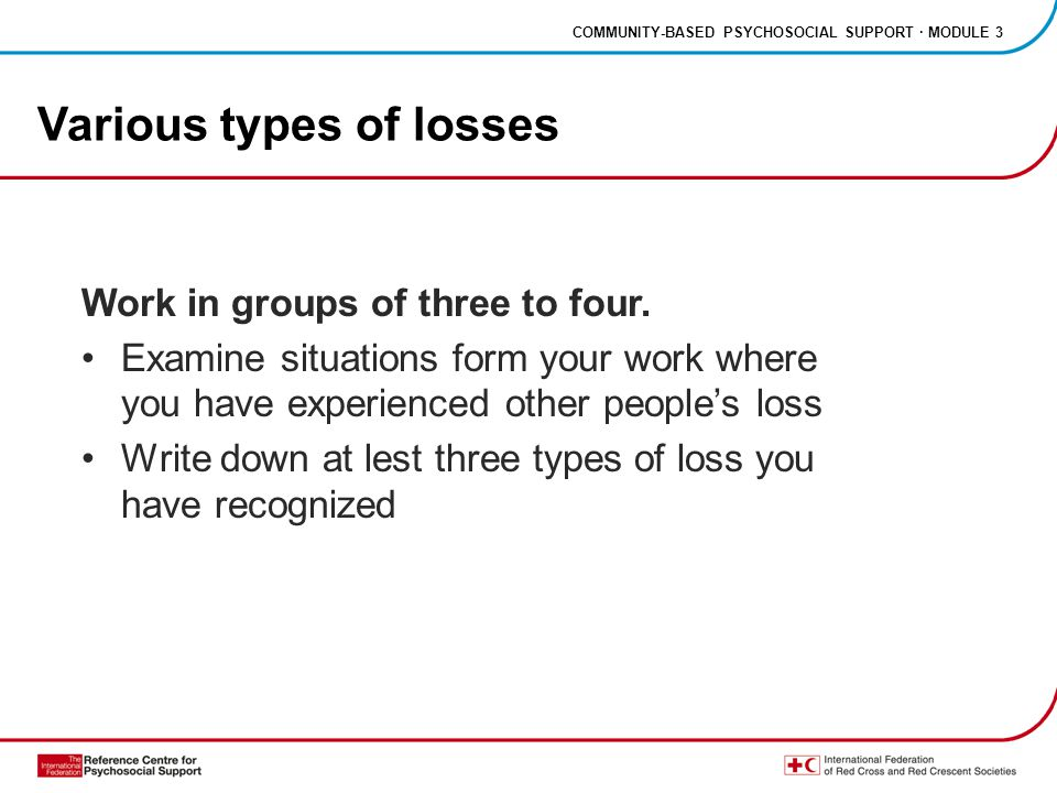 COMMUNITY-BASED PSYCHOSOCIAL SUPPORT · MODULE 3 Various types of losses Work in groups of three to four.