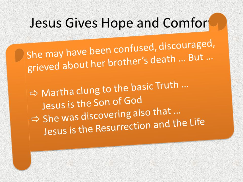Jesus Gives Hope and Comfort Compare what Jesus and Martha were saying about a resurrection, about Jesus Martha's understanding of resurrection and Je