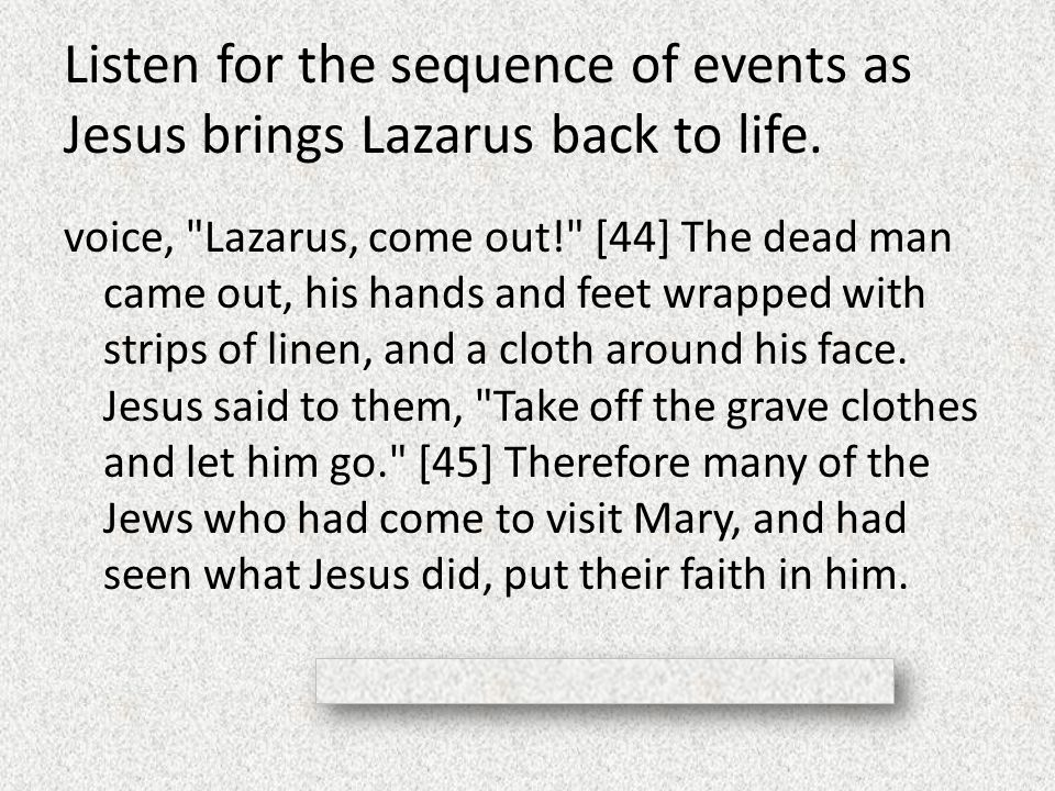 Listen for the sequence of events as Jesus brings Lazarus back to life. voice,