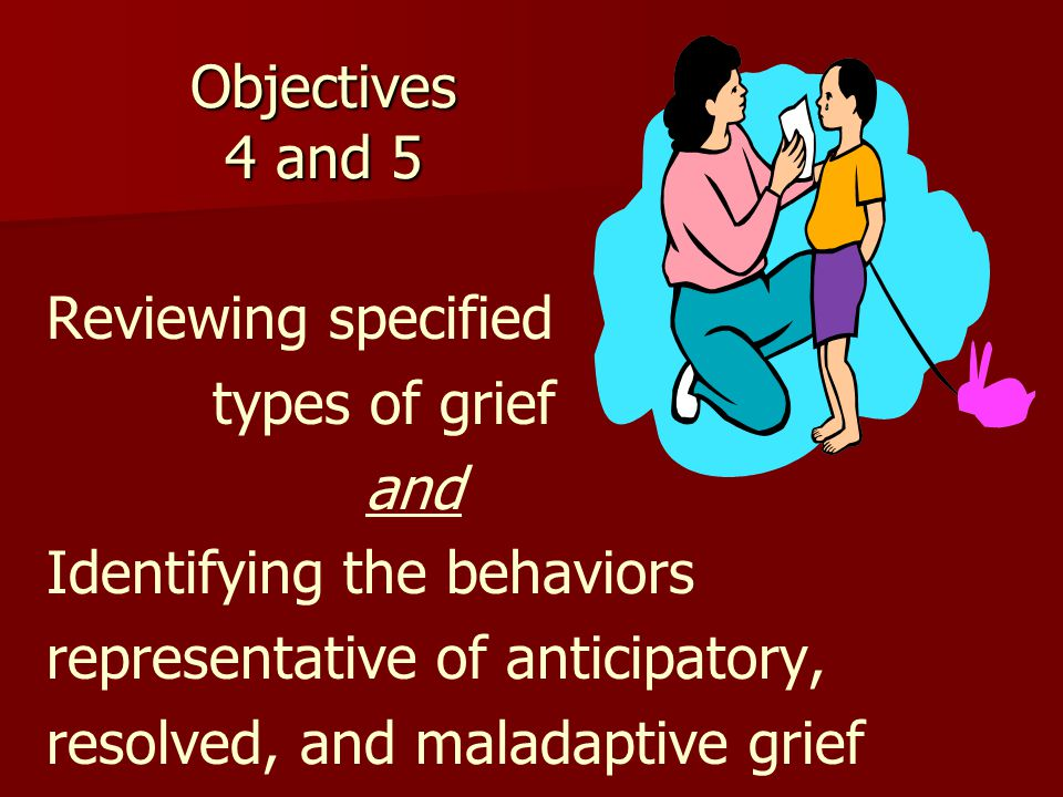 Objectives 4 and 5 Reviewing specified types of grief and Identifying the behaviors representative of anticipatory, resolved, and maladaptive grief