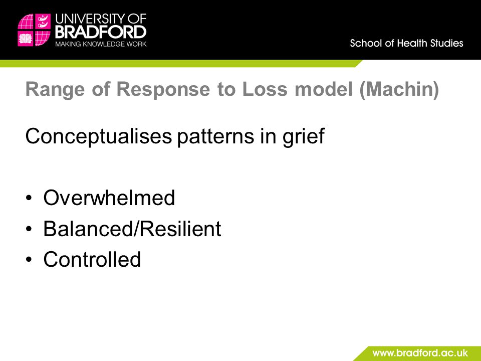 Range of Response to Loss model (Machin) Conceptualises patterns in grief Overwhelmed Balanced/Resilient Controlled