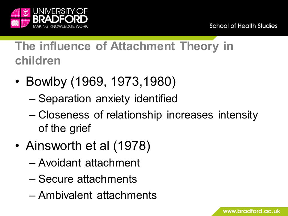 The influence of Attachment Theory in children Bowlby (1969, 1973,1980) –Separation anxiety identified –Closeness of relationship increases intensity