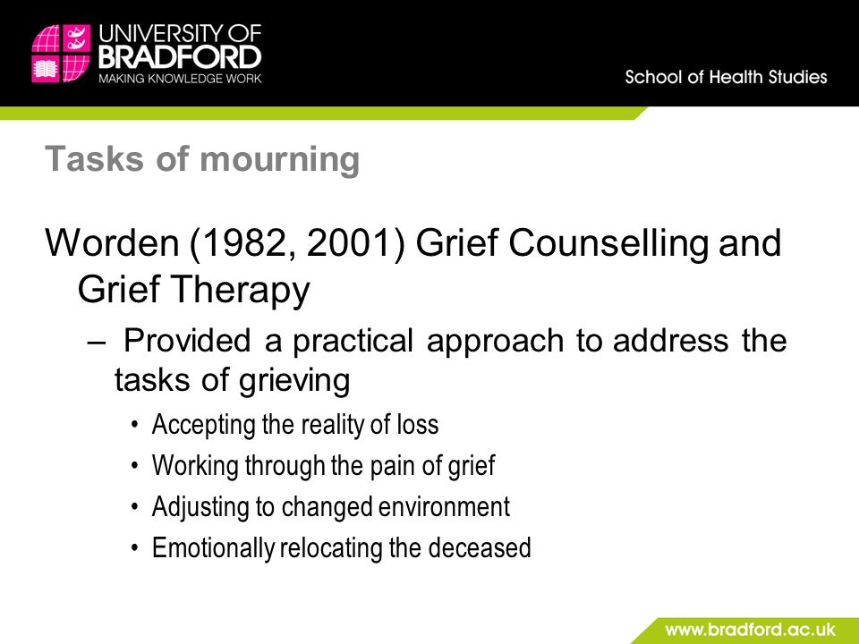 Tasks of mourning Worden (1982, 2001) Grief Counselling and Grief Therapy – Provided a practical approach to address the tasks of grieving Accepting t