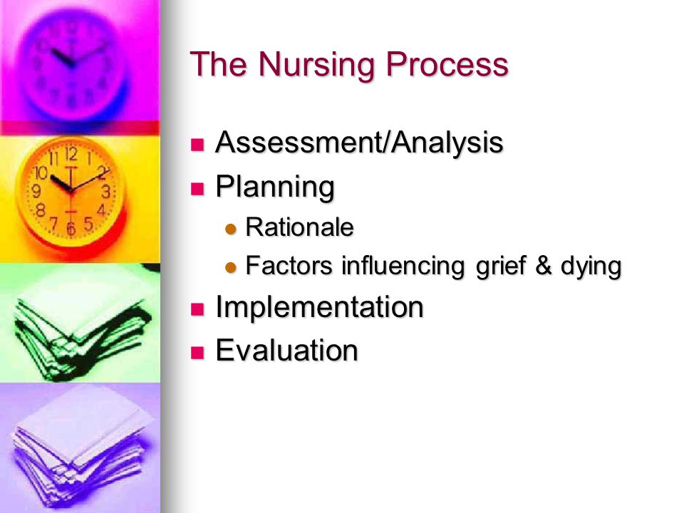 The Nursing Process Assessment/Analysis Assessment/Analysis Planning Planning Rationale Rationale Factors influencing grief & dying Factors influencin