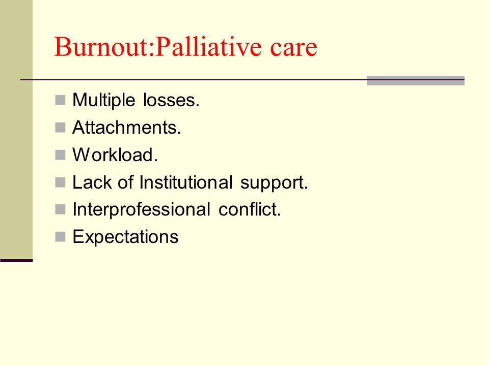 Burnout:Palliative care Multiple losses. Attachments.