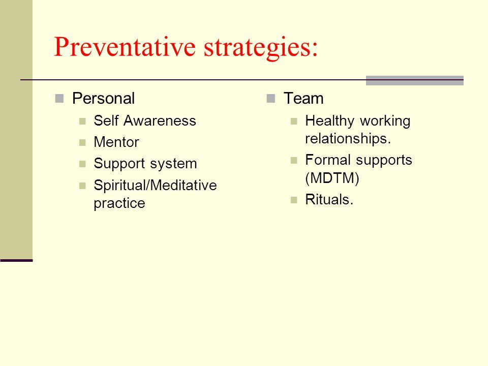Preventative strategies: Personal Self Awareness Mentor Support system Spiritual/Meditative practice Team Healthy working relationships.