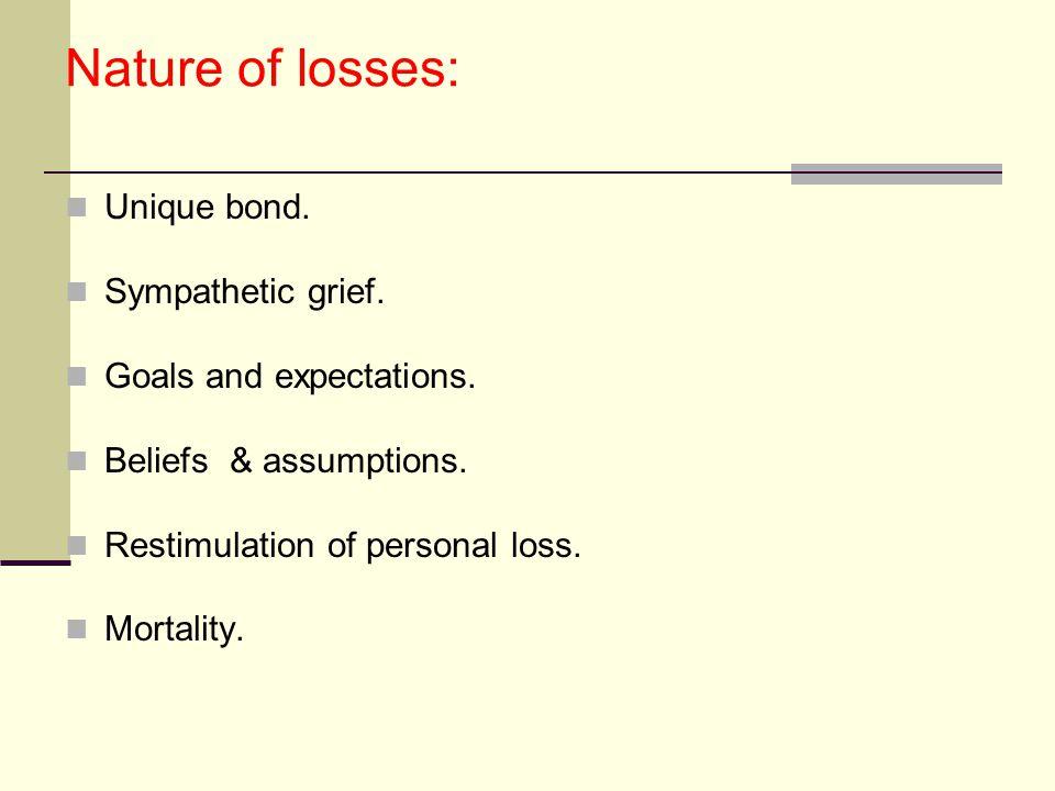 Nature of losses: Unique bond. Sympathetic grief.
