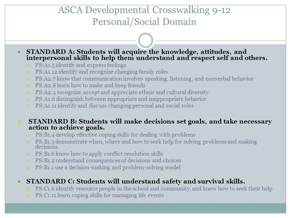 ASCA Developmental Crosswalking 9-12 Personal/Social Domain STANDARD A: Students will acquire the knowledge, attitudes, and interpersonal skills to he