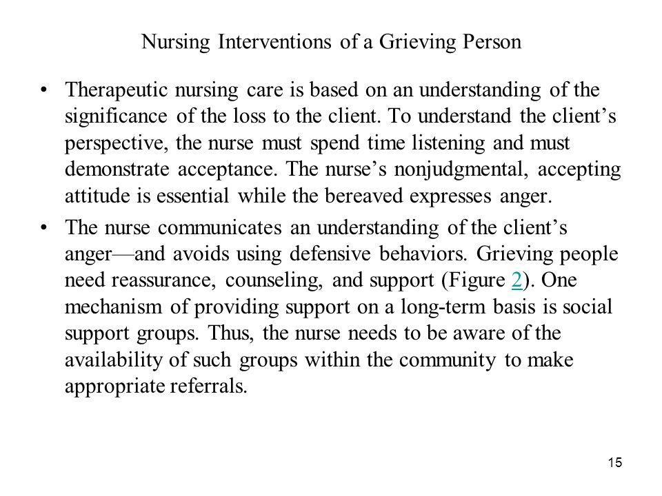 15 Nursing Interventions of a Grieving Person Therapeutic nursing care is based on an understanding of the significance of the loss to the client.