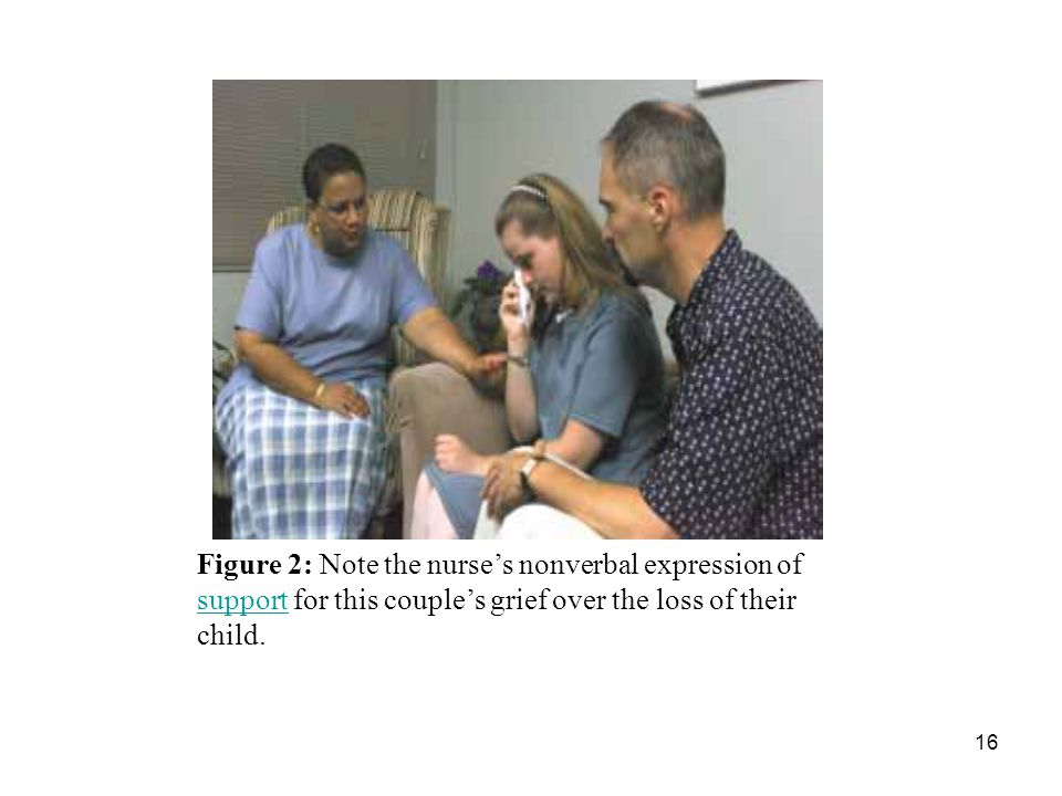 16 Figure 2: Note the nurse's nonverbal expression of support for this couple's grief over the loss of their child.