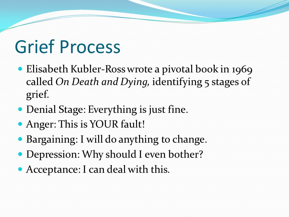 Grief Process Elisabeth Kubler-Ross wrote a pivotal book in 1969 called On Death and Dying, identifying 5 stages of grief.