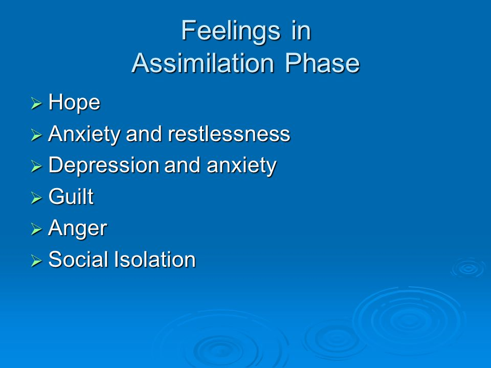 Feelings in Assimilation Phase  Hope  Anxiety and restlessness  Depression and anxiety  Guilt  Anger  Social Isolation