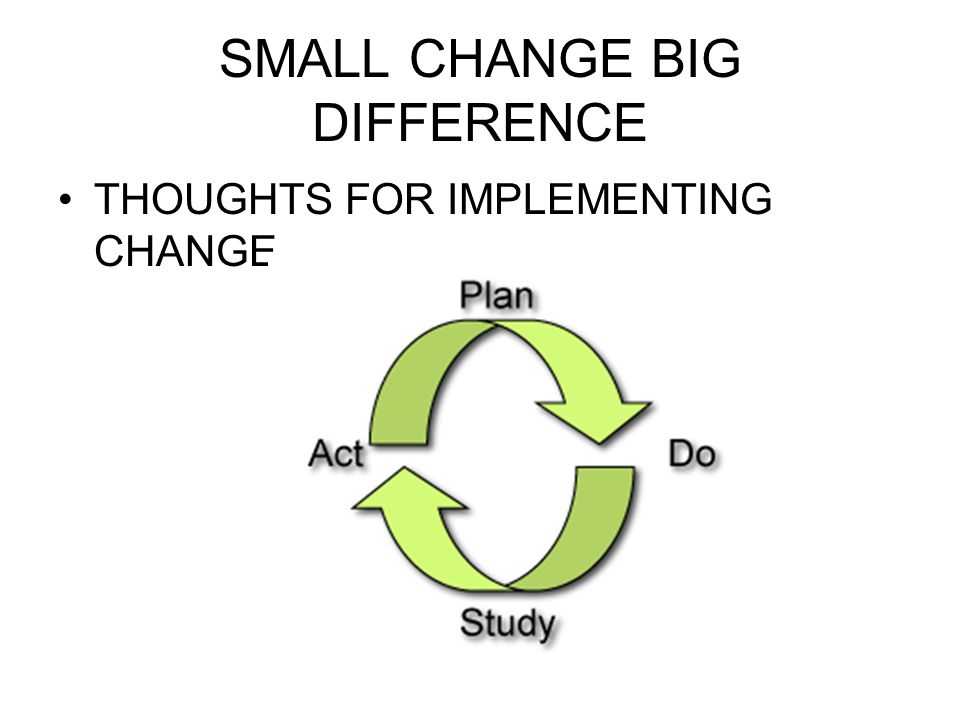 SMALL CHANGE BIG DIFFERENCE THOUGHTS FOR IMPLEMENTING CHANGE