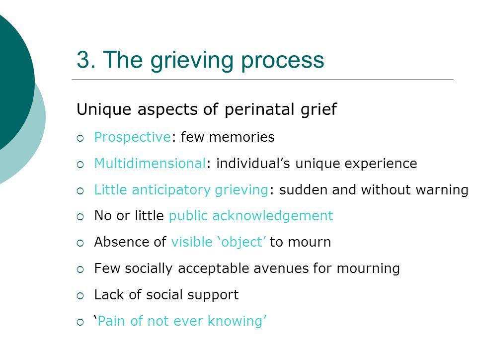 3. The grieving process Unique aspects of perinatal grief  Prospective: few memories  Multidimensional: individual's unique experience  Little anti