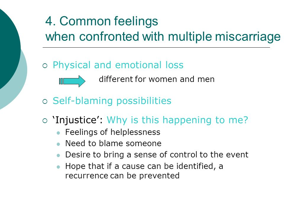 4. Common feelings when confronted with multiple miscarriage  Physical and emotional loss different for women and men  Self-blaming possibilities 
