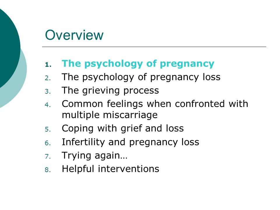 Overview 1. The psychology of pregnancy 2. The psychology of pregnancy loss 3.