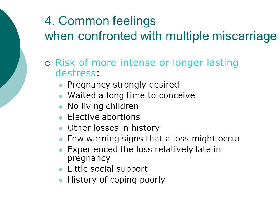 4. Common feelings when confronted with multiple miscarriage  Risk of more intense or longer lasting destress: Pregnancy strongly desired Waited a lo