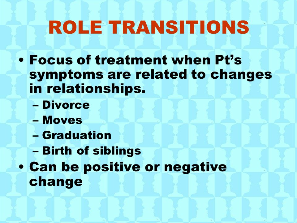 ROLE TRANSITIONS Focus of treatment when Pt's symptoms are related to changes in relationships. –Divorce –Moves –Graduation –Birth of siblings Can be