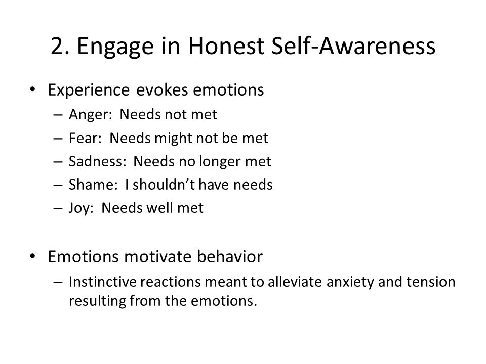 2. Engage in Honest Self-Awareness Experience evokes emotions – Anger: Needs not met – Fear: Needs might not be met – Sadness: Needs no longer met – S