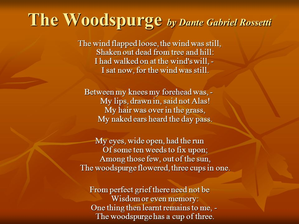 The Woodspurge by Dante Gabriel Rossetti The wind flapped loose, the wind was still, Shaken out dead from tree and hill: I had walked on at the wind s will, - I sat now, for the wind was still.