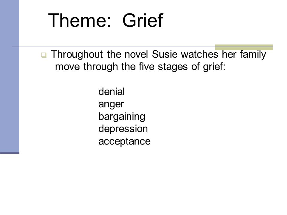 Theme: Grief  Throughout the novel Susie watches her family move through the five stages of grief: denial anger bargaining depression acceptance