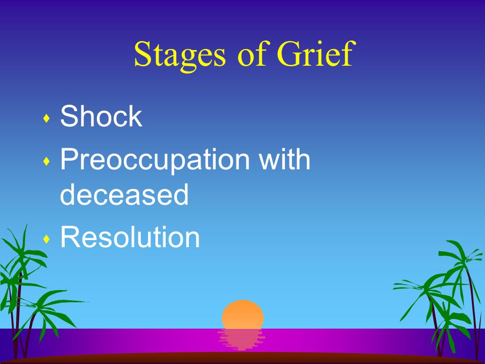 Stages of Grief s Shock s Preoccupation with deceased s Resolution