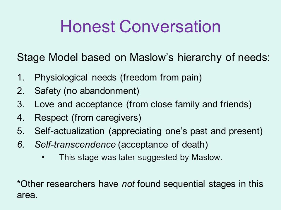 Honest Conversation Stage Model based on Maslow's hierarchy of needs: 1.Physiological needs (freedom from pain) 2.Safety (no abandonment) 3.Love and a