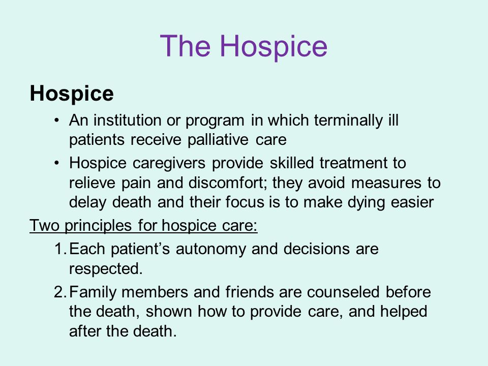 The Hospice Hospice An institution or program in which terminally ill patients receive palliative care Hospice caregivers provide skilled treatment to