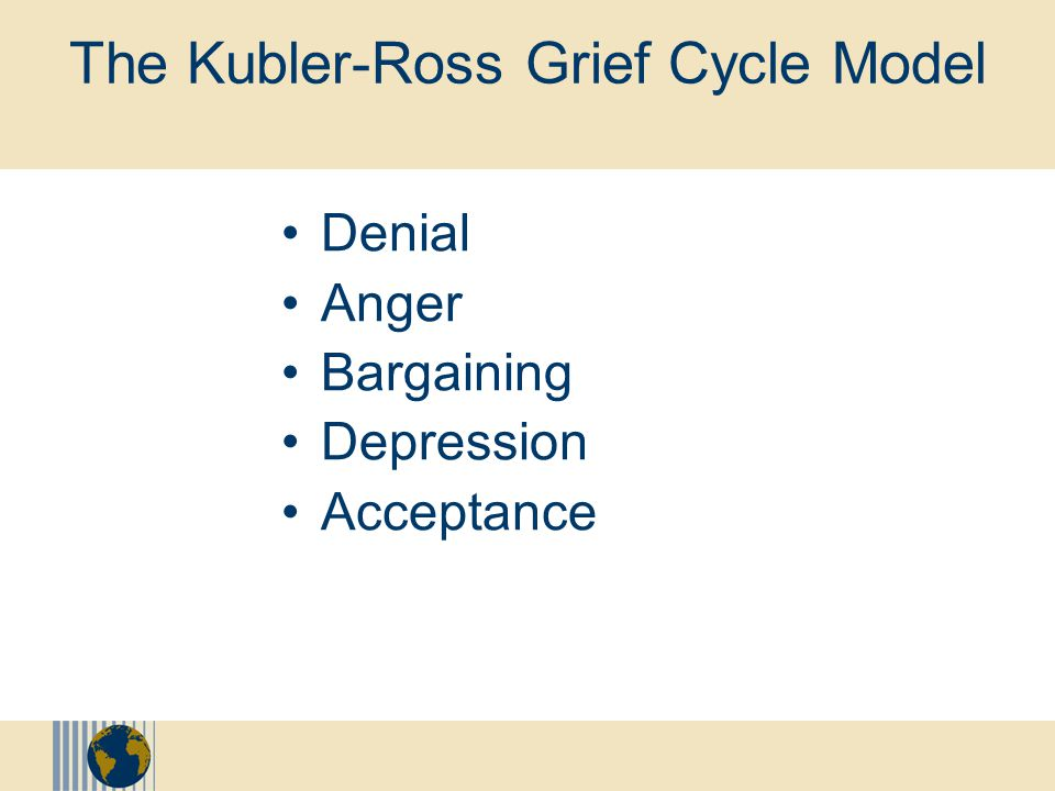 "Models for Understanding the Change Process The Kubler-Ross Grief Cycle Model The Scott/Jaffe ""Rhythm of Change"" Model The Conner/Kelly Emotional Cycl"