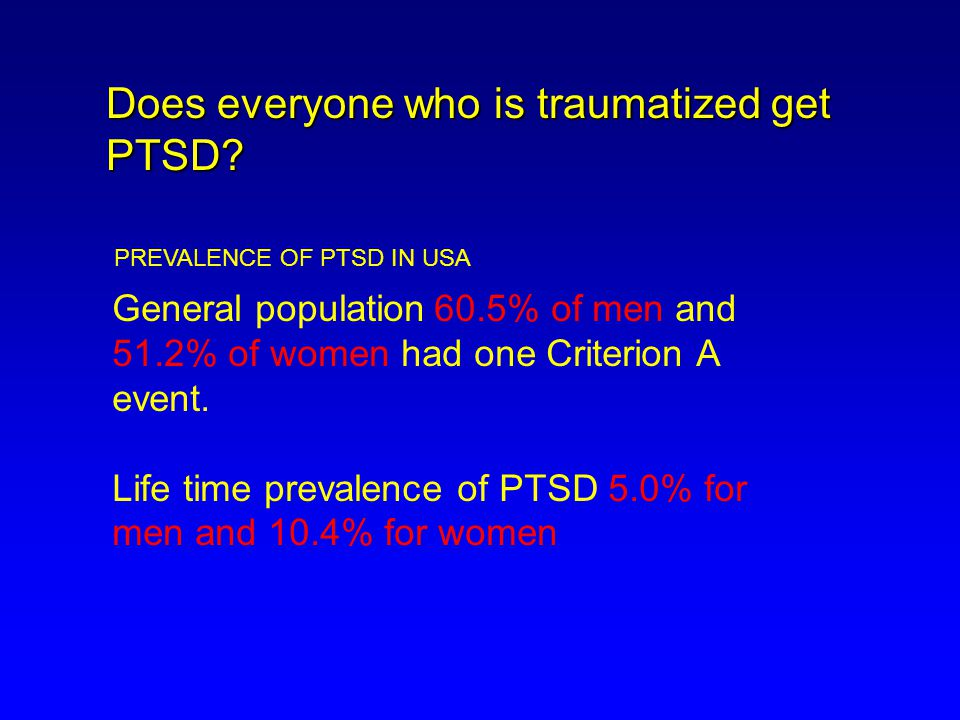 Longitudinal Course of PTSD Symptoms 3 months 9 months 15-25% 58% recovered 53% recovered Weeks 6% recovered YEARS UNRECOVERED Shalev & Yehuda, Psychological Trauma 1998
