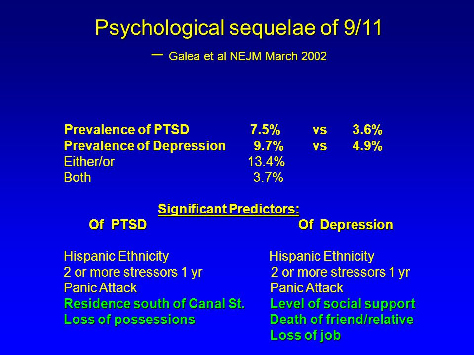 Psychological sequelae of 9/11 – Galea et al NEJM March 2002 Prevalence of PTSD 7.5% vs 3.6% Prevalence of Depression 9.7% vs 4.9% Either/or 13.4% Both 3.7% Significant Predictors: Of PTSD Of Depression Of PTSD Of Depression Hispanic Ethnicity Hispanic Ethnicity 2 or more stressors 1 yr 2 or more stressors 1 yr Panic Attack Panic Attack Residence south of Canal St.