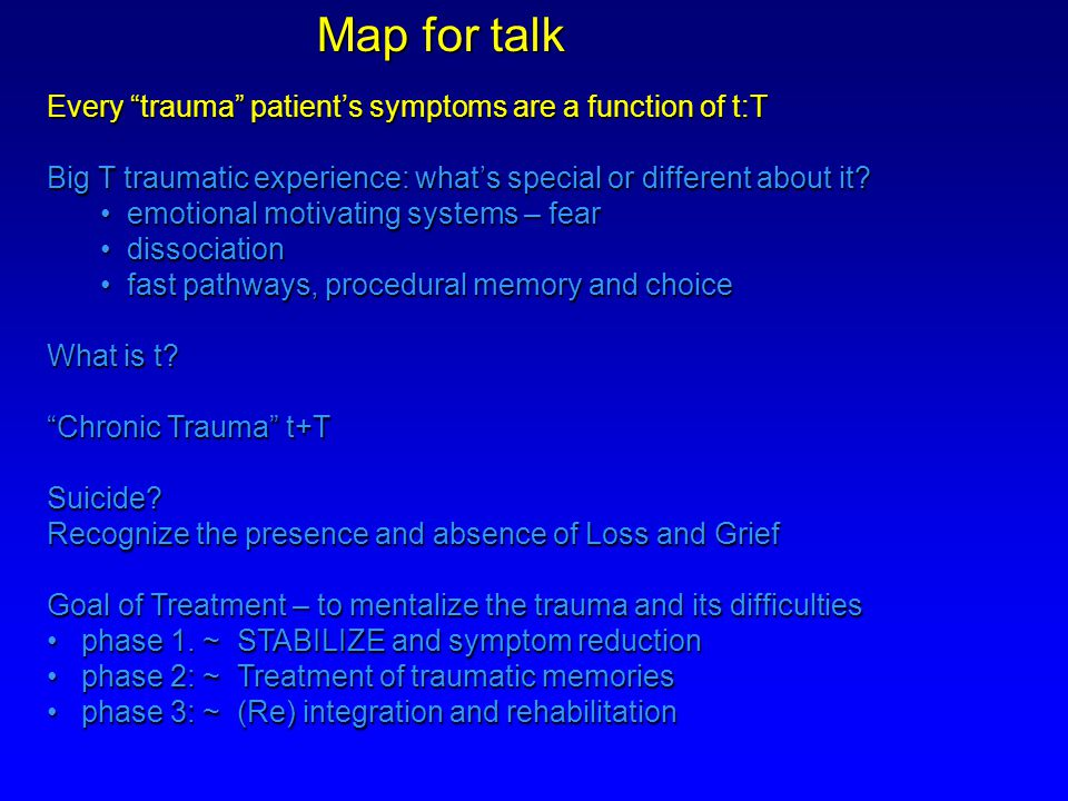 (Episodic) Model of Acute PTSD Leading to Chronic Complex PTSD TRAUMA INTRUSIVE RECOLLECTIONS Support ++ communication rest and food Accommodate Physiologic reactivity Psychological distress SUBSTANCE DISORDERS SOMATOFOR M DISORDERS No Work No Friends No Life PERSONALITY DISORDERS DISSOCIATION DEPRESSION PSYCHOSIS PHOBIA ANXIETY PANIC AROUSAL +++ AVOIDANCE of triggersAVOIDANCE of triggers NUMBING of general responsesNUMBING of general responses Poor SleepPoor Sleep Chronic IrritabilityChronic Irritability Bursts Of AngerBursts Of Anger Poor ConcentrationPoor Concentration HypervigilenceHypervigilence JumpyJumpy BIPOLAR DISORDER AGOROPHOBIA SEXUAL DISORDER COGNITIVE DISORDERS MEMORY DISORDER SLEEP DISORDER