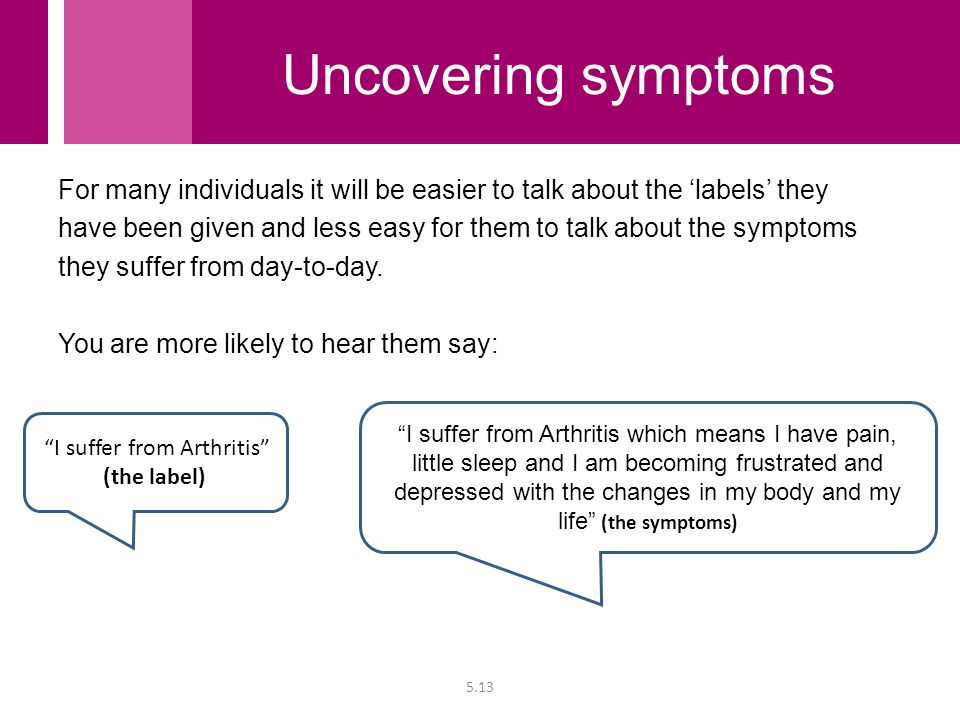 For many individuals it will be easier to talk about the 'labels' they have been given and less easy for them to talk about the symptoms they suffer f