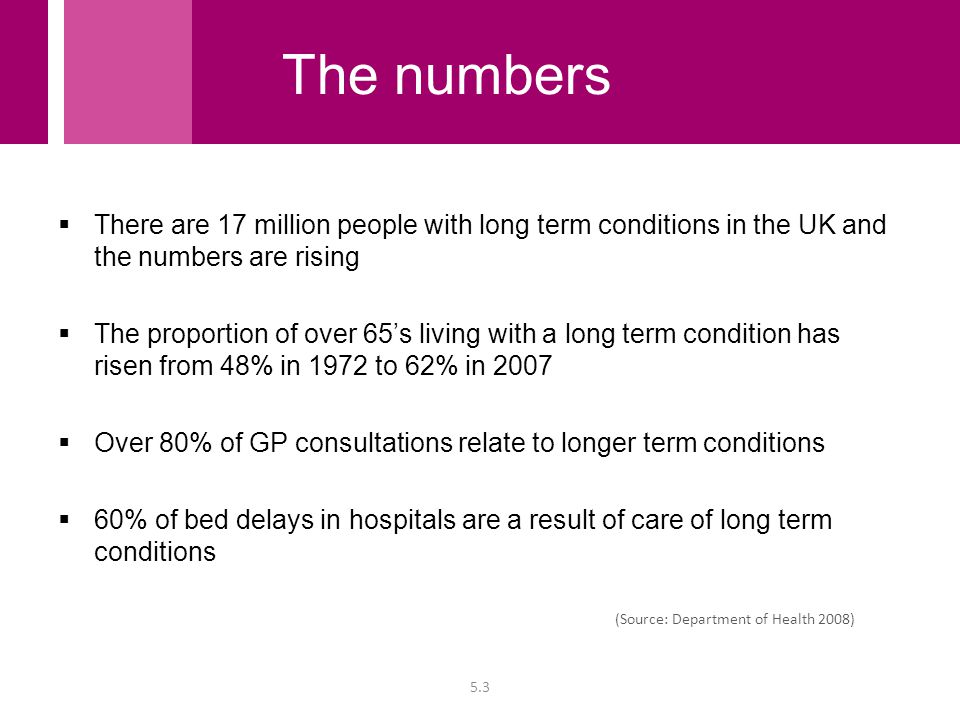  There are 17 million people with long term conditions in the UK and the numbers are rising  The proportion of over 65's living with a long term con