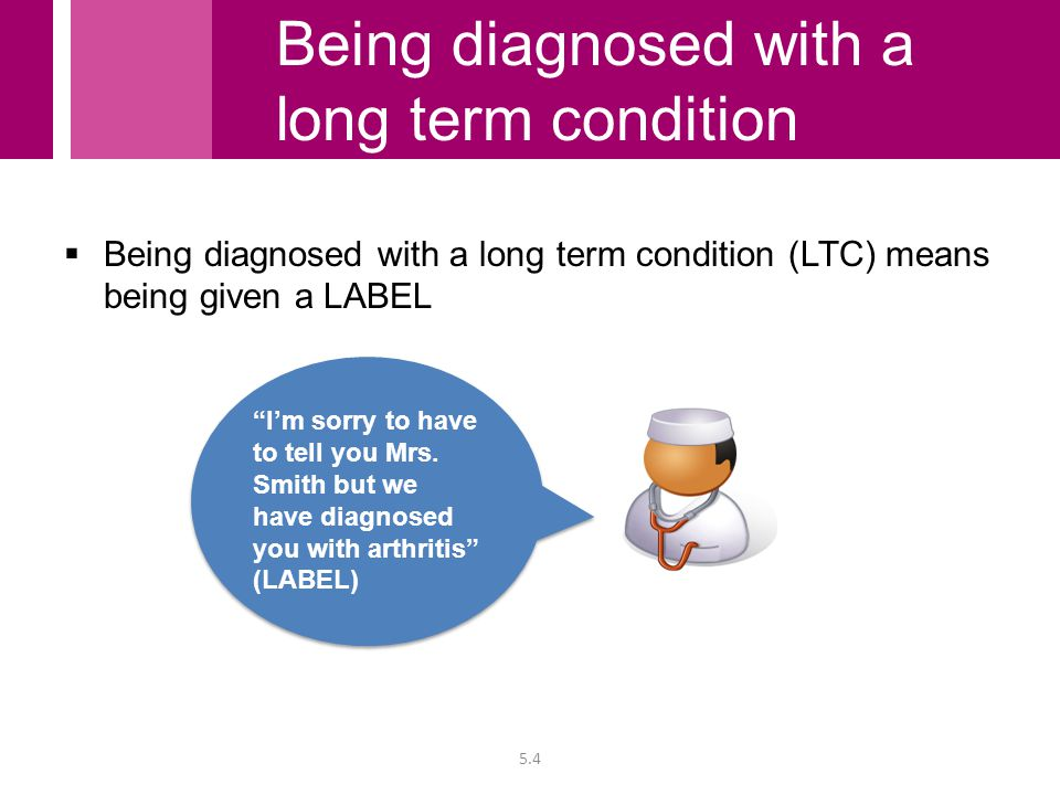  Being diagnosed with a long term condition (LTC) means being given a LABEL I'm sorry to have to tell you Mrs.