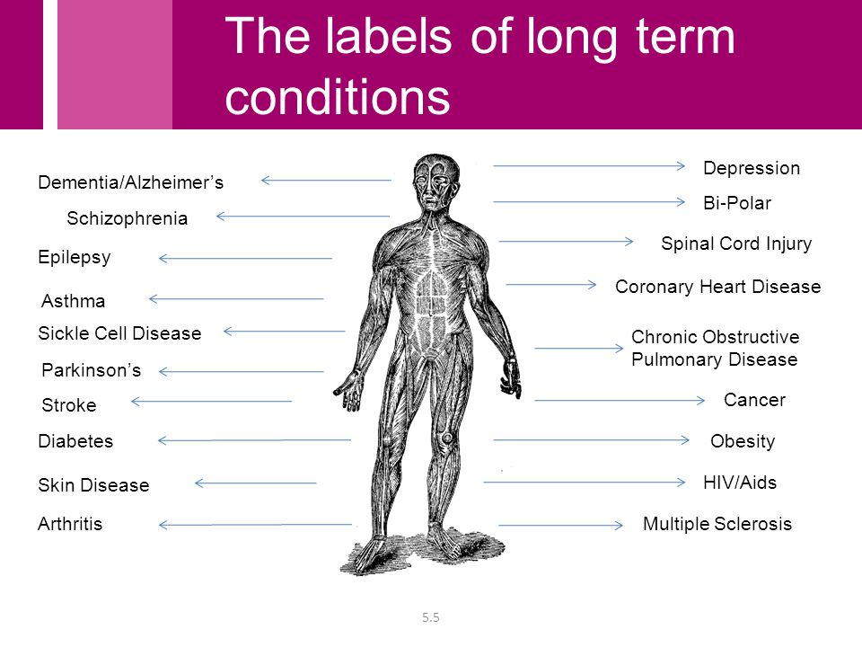 Chronic Obstructive Pulmonary Disease Asthma Coronary Heart Disease Diabetes HIV/Aids Spinal Cord Injury Sickle Cell Disease Stroke Obesity Epilepsy Cancer Parkinson's Skin Disease Dementia/Alzheimer's Depression Schizophrenia Bi-Polar 5.5 ArthritisMultiple Sclerosis The labels of long term conditions