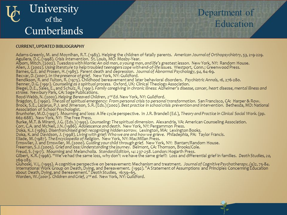Univers ity of the Cumberlands Department of Education U C CURRENT, UPDATED BIBLIOGRAPHY Adams-Greenly, M.