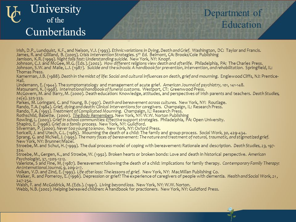 Univers ity of the Cumberlands Department of Education U C Irish, D.P., Lundquist, K.F., and Nelson, V.J.
