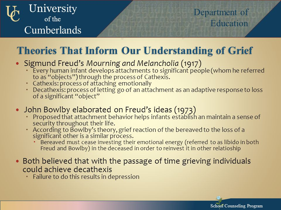 Univers ity of the Cumberlands Department of Education U C Theories That Inform Our Understanding of Grief Sigmund Freud's Mourning and Melancholia (1917)  Every human infant develops attachments to significant people (whom he referred to as objects ) through the process of Cathexis.
