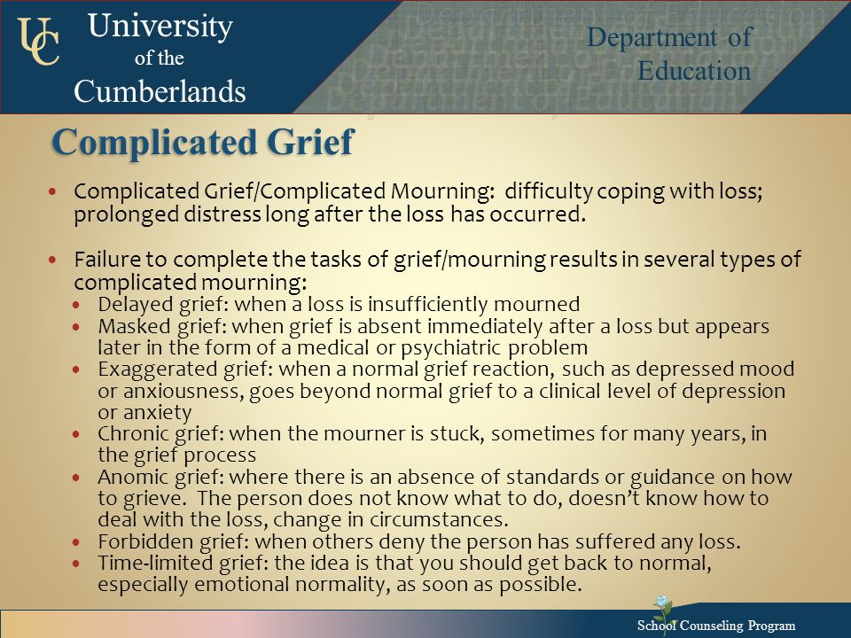 Univers ity of the Cumberlands Department of Education U C Complicated Grief Complicated Grief/Complicated Mourning: difficulty coping with loss; prolonged distress long after the loss has occurred.