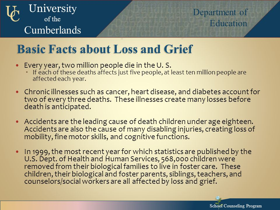 Univers ity of the Cumberlands Department of Education U C Basic Facts about Loss and Grief Every year, two million people die in the U.