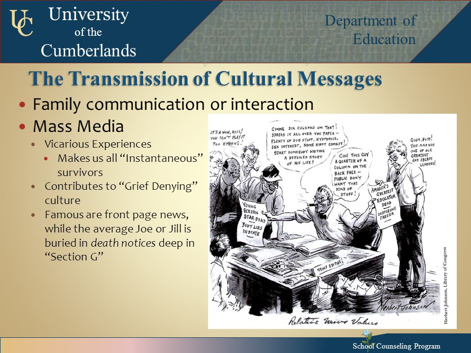 Univers ity of the Cumberlands Department of Education U C The Transmission of Cultural Messages Family communication or interaction Mass Media Vicarious Experiences Makes us all Instantaneous survivors Contributes to Grief Denying culture Famous are front page news, while the average Joe or Jill is buried in death notices deep in Section G School Counseling Program