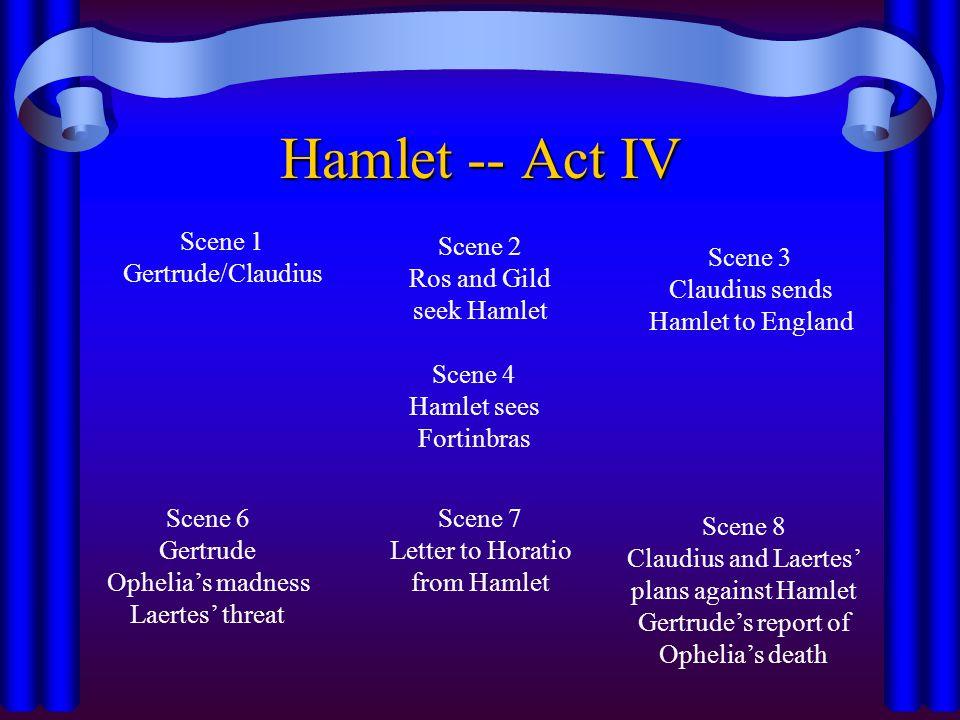 Hamlet -- Act IV Scene 1 Gertrude/Claudius Scene 2 Ros and Gild seek Hamlet Scene 7 Letter to Horatio from Hamlet Scene 4 Hamlet sees Fortinbras Scene