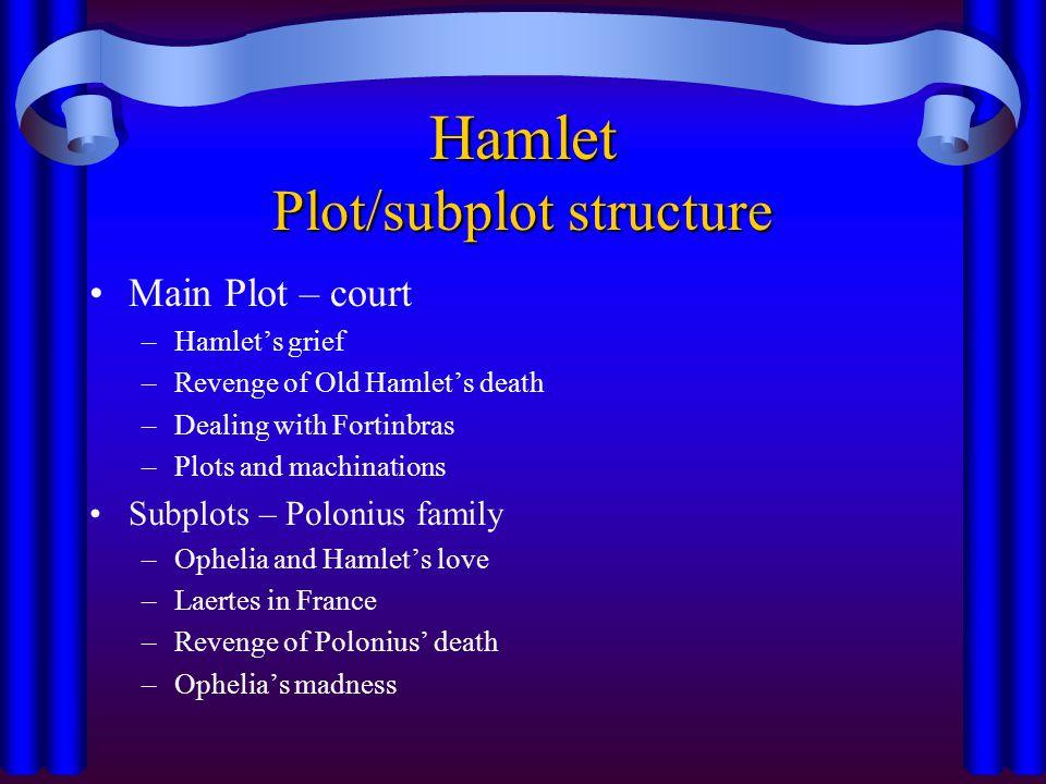 Hamlet Plot/subplot structure Main Plot – court –Hamlet's grief –Revenge of Old Hamlet's death –Dealing with Fortinbras –Plots and machinations Subplo