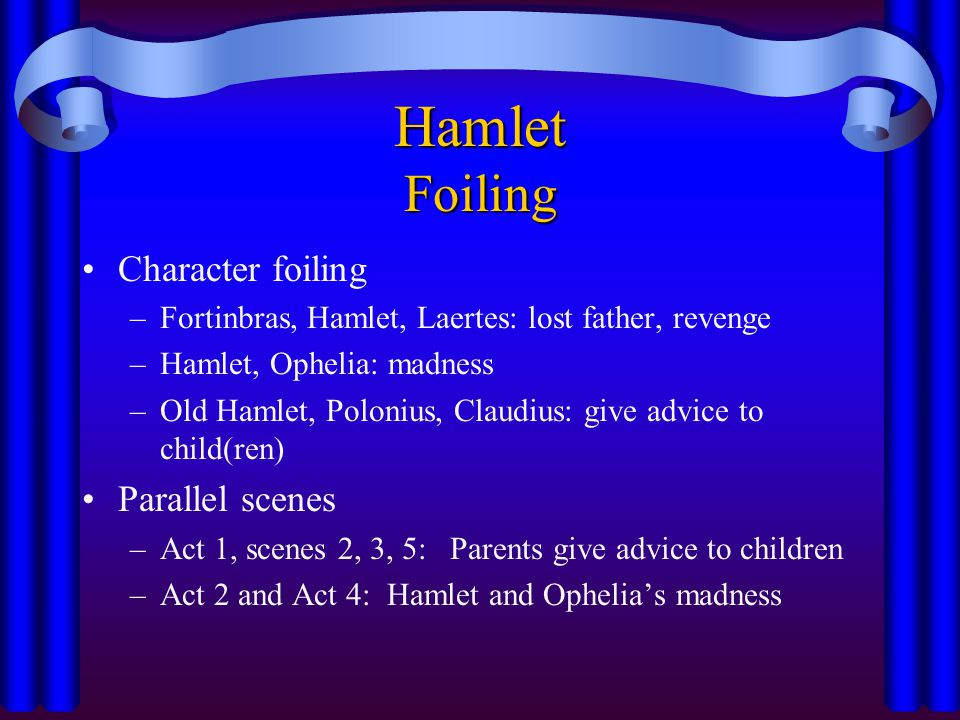 Hamlet Foiling Character foiling –Fortinbras, Hamlet, Laertes: lost father, revenge –Hamlet, Ophelia: madness –Old Hamlet, Polonius, Claudius: give ad