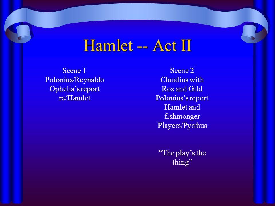 Hamlet -- Act II Scene 1 Polonius/Reynaldo Ophelia's report re/Hamlet Scene 2 Claudius with Ros and Gild Polonius's report Hamlet and fishmonger Playe